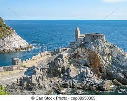vire cape portovenere aerial virew aerial view of church of st stock