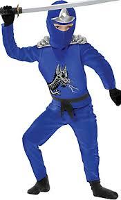 Kids Ninja Halloween Costume Toddler Boys Blue Ninja Avenger Costume Deluxe Scared Stiff