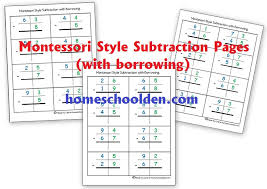 montessori subtraction pages with borrowing homeschool den
