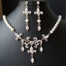 vintage wedding jewelry necklace images Bridal jewelry set wedding necklace earrings set fleur de lis jpg