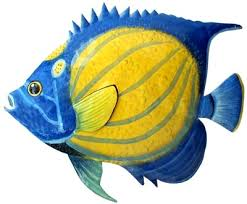 painted metal blue angelfish tropical fish wall decor haitian