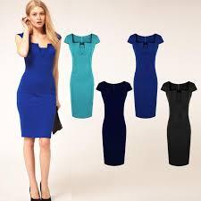 elegant dress women retro clothing skirt short sleeve slim career