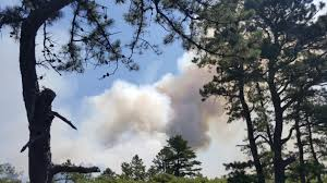 large brush fire at joint base cape cod