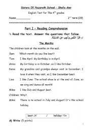 english exercises test 4 for the 4th grade