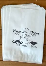 50 white retro u0027hugs and kisses u0027 candy buffet bags wedding