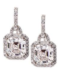 cubic zirconia earrings fantasia by deserio 3 5ct asscher cut cubic zirconia earrings