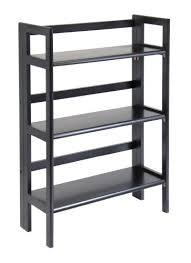 Folding Bookcase Plans Amazon Com Winsome Wood Stackable Folding 3 Tier Shelf Black