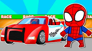 cartoon race car spiderman racing game vehicles for children kids animation