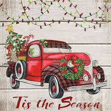 214 red truck images vintage christmas