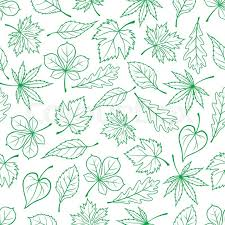 seamless carved green leaves pattern for ecology theme or retro
