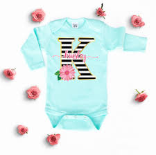 monogram baby items baby girl clothes floral personalized onesie striped custom