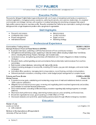 Proprietary Trading Resume Futures Broker Sample Resume
