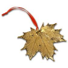 nature s gold yellow gold maple leaf ornament rcm gold modern