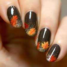 35 cool nail designs to try this fall orange leaf leaves and black