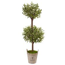 nearly natural indoor olive artificial tree in farmhouse planter