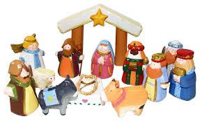 wooden nativity set kurt adler 10 5 inch carved child s 1st nativity