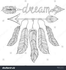 american indian coloring pages boho chic ethnic dream arrow feathers stock vector 548602969