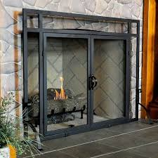 glass fireplace screen to bring a different touch for fireplace