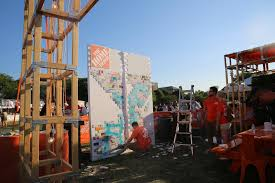 Homedepot by Protesters Destroy Wall At Home Depot Booth During Latino Rock