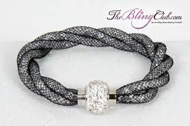 white swarovski crystal bracelet images Black white twist stardust crystal magnetic bracelet bling sale jpg