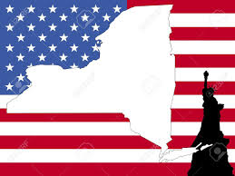 New York On The Map by Map Of New York On American Flag With Statue Of Liberty Stock