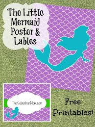mermaid party poster u0026 labels free printable