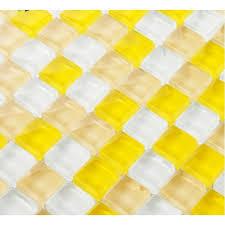 mosaic tile backsplash interlocking crystal glass tiles yellow