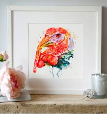 Turkey Watercolor Painting Bird Art Turkey Decor Aquarelle