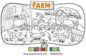 coloring book funny farm baby animals stock vector 286864814