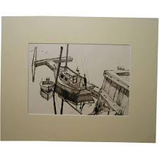 maine sailboat sketch by palmieri from clean oil painting on ruby lane