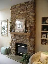 interior simple stone veneer fireplace design featuring wooden
