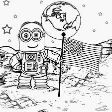 walking moon astronaut colouring kids big kids