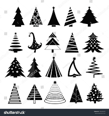 vector illustration set christmas trees silhouette stock vector