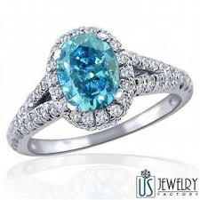 engagement rings nyc 1 47 tcw oval cut blue diamond engagement halo ring 14k white gold