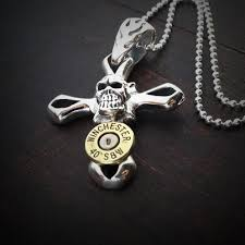 cross skull necklace images Men 39 s skull cross bullet necklace in sterling silver jectz jpg