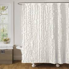 Shower Curtains White Fabric Geometric Fabric Shower Curtains Two Support White Brick Wall