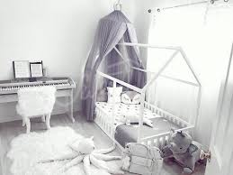 white and grey canopy kids playroom toddler bed twin size baby