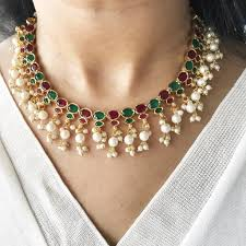 emerald pearl necklace images Buy ruby emerald pearl necklace set at flauntandfun for only rs jpeg