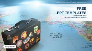 powerpoint templates free download ocean tourism ppt templates free download suitcase on globe map business