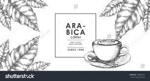 vintage latte art coffee coffee leaf stock vector 704836552