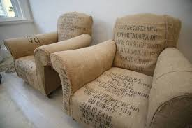 Overstuffed Armchair Vintage Chairs Reupholstered With Coffee Sacks Boing Boing