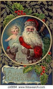 santa and baby jesus picture drawings of vintage christmas card of santa claus holding baby