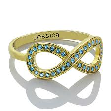 Name Ring Gold Personalized Birthstone Infinity Accent Ring Gold Color Engraved