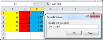 how to copy values and formatting from a range to another in excel
