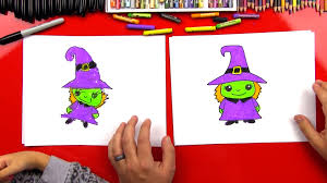 how to draw a cartoon witch art for kids hub
