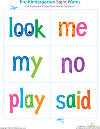 ideas of sight words worksheets for pre kindergarten with