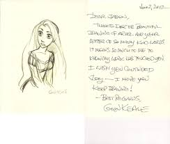 a card from glen keane with a sketch of rapunzel by animejason2010