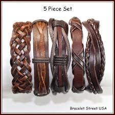 braided leather chain bracelet images 5 piece handmade leather bracelet set leather by braceletstreetusa jpg