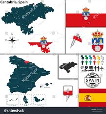 Spain Regions Map vector map region cantabria coat arms stock vector 249226060