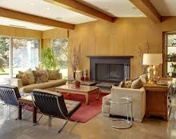 living room mid century modern with fireplace rustic kids